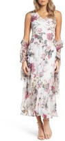 Komarov Women's Print Chiffon Tiered Maxi Dress & Shawl