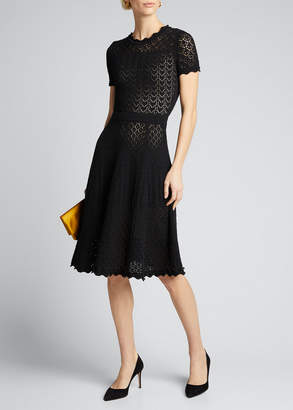 Carolina Herrera Short-Sleeve Fit & Flare Dress