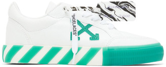 Off-White White and Green Vulcanized Low Sneakers