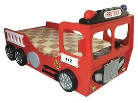 Reichard Fire Truck Toddler Car Bed with Mattress Zoomie Kids