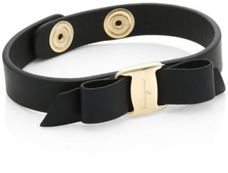 Salvatore Ferragamo Vara Bow Black Leather Bracelet