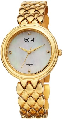 Burgi Ladies Diamond Mother of Pearl Gold-tone Python Bracelet Watch