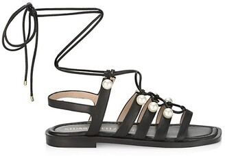 Stuart Weitzman Goldie Embellished Leather Lace-Up Flat Sandals