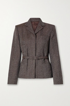 Commission Belted Wool-tweed Blazer - Dark brown