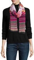Missoni Knit Zigzag Scarf, Pink/Purple
