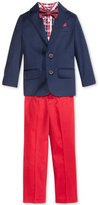 Nautica 4-Pc. Machine Washable Navy Jacket, Plaid Shirt, Pants & Bow Tie Set, Toddler & Little Boys (2T-7)