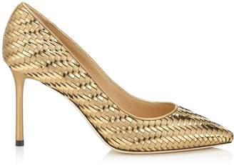 Jimmy Choo ROMY 85 Gold Mix Woven Metallic Fabric Pointy Toe Pump
