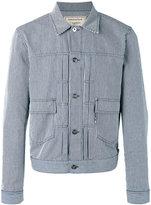 MAISON KITSUNÉ logo embroidered striped jacket - men - Cotton - L