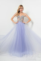 Terani Prom - Dazzling Beaded Illusion Neck Polyester A-line Gown 1712P2456