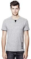 GUESS Men's Laec Short-Sleeve Marled Henley