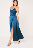 Missguided Silky Wrap Over Maxi Dress Blue