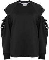 DKNY Black Open-shoulder Neoprene Sweatshirt