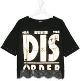 Diesel lace-hem printed top