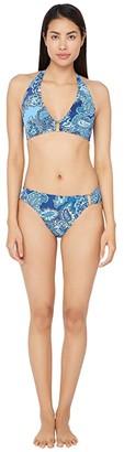 Lauren Ralph Lauren Bandana Paisley Ring Front Halter Bikini Swimsuit Top (Blue) Women's Swimwear