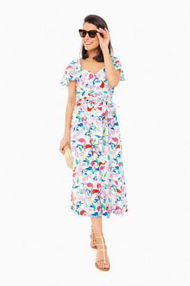 Tanya Taylor Flamingo White Teigan Dress