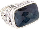 Barse Blue Tiger's Eye & Silver-Plated Rectangle Ring