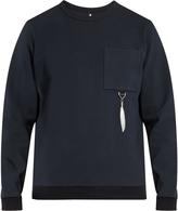 Oamc Feather-charm crew-neck sweatshirt