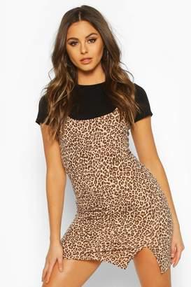 boohoo Leopard Cami T-shirt Slip Dress