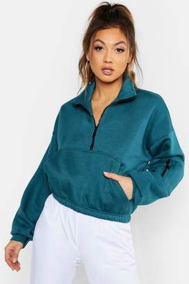 boohoo Zip Front Oversized High Neck Sweat
