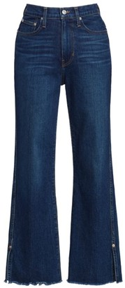 Proenza Schouler White Label High-Rise Cropped Distressed Hem Jeans