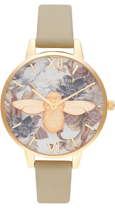 Olivia Burton Marble Floral Leather Strap Watch, 34mm
