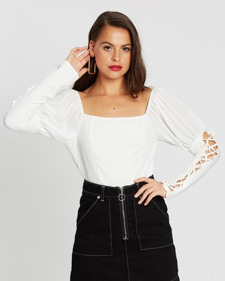Missguided Bardot Lace-Up Puff Sleeve Bodysuit