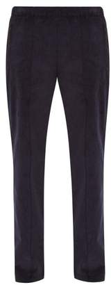 Maison Margiela Satin Trimmed Cotton Corduroy Trousers - Mens - Navy