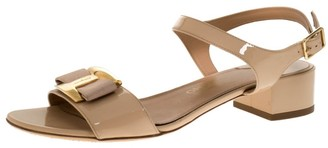 Salvatore Ferragamo Beige Patent Leather Ankle Strap Sandals Size 39.5
