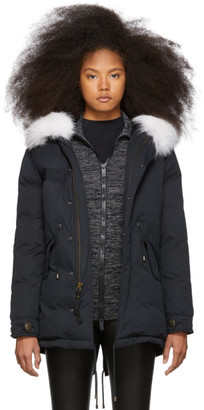 Mr & Mrs Italy Black Down and Fur Puff Parka