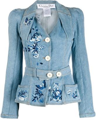 Pre-Owned Belted Denim Jacket