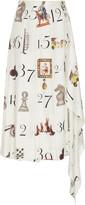 Monse Printed Numbers Pleated Silk Midi Skirt