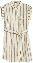 Stripe Cuffed Cap Sleeve Shirt Dress