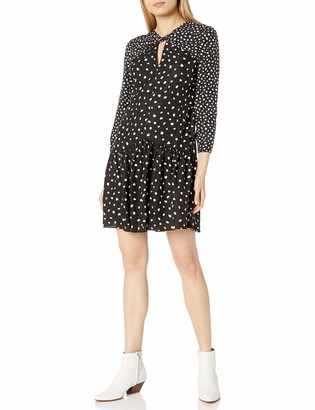 Rebecca Taylor Women's Long Sleeve Polka Dot Dress with Knot Neckline