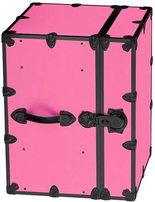 Pottery Barn Teen Canvas Dorm Trunk with Black Trim, Bedside, Blooming Pink