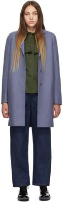 Harris Wharf London Blue Wool Cocoon Coat