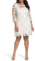 Marina Plus Size Women's Bell Sleeve Lace Shift Dress