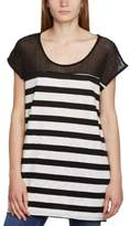 MinkPink Women's Raw Power Tunic Striped Crew Neck Short Sleeve T-Shirt,8