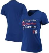 Women's G-III 4Her by Carl Banks Royal Philadelphia 76ers Power Forward Foil V-Neck T-Shirt