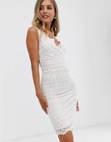 Lipsy wrap front lace midi dress in white