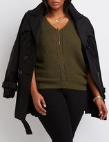Charlotte Russe Plus Size V-Neck Pointelle Sweater