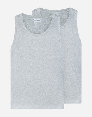 Dolce & Gabbana Bi-Pack Tank Top In Stretch Cotton