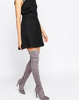 KENDALL + KYLIE Gray Stilletto Thigh High Boots