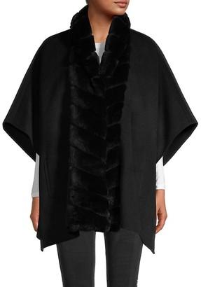 Gorski Rabbit Fur-Trimmed Wool Cape Jacket