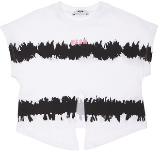 MSGM Tie Dye Crop Cotton Jersey T-Shirt