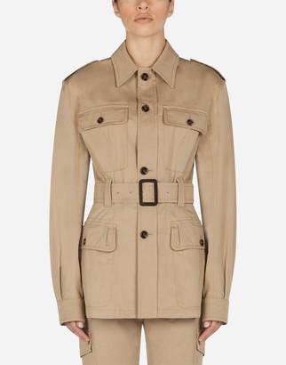Dolce & Gabbana Single-Breasted Safari Jacket In Gabardine With Belt