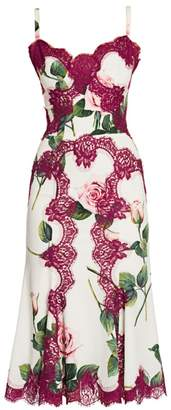 Dolce & Gabbana Rose-Print Charmeuse Lace-Accent Dress