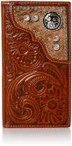 Nocona Rodeo Tooled Floral Hair & Concho Wallet - Tan/clear