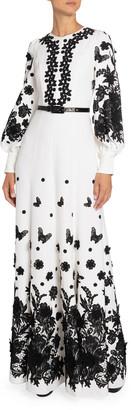 Andrew Gn Floral Applique Zip-Neck Gown