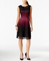 Sandra Darren Petite Lace Ombré Fit & Flare Dress