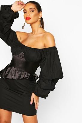 boohoo Off The Shoulder Peplum Corset Mini Dress